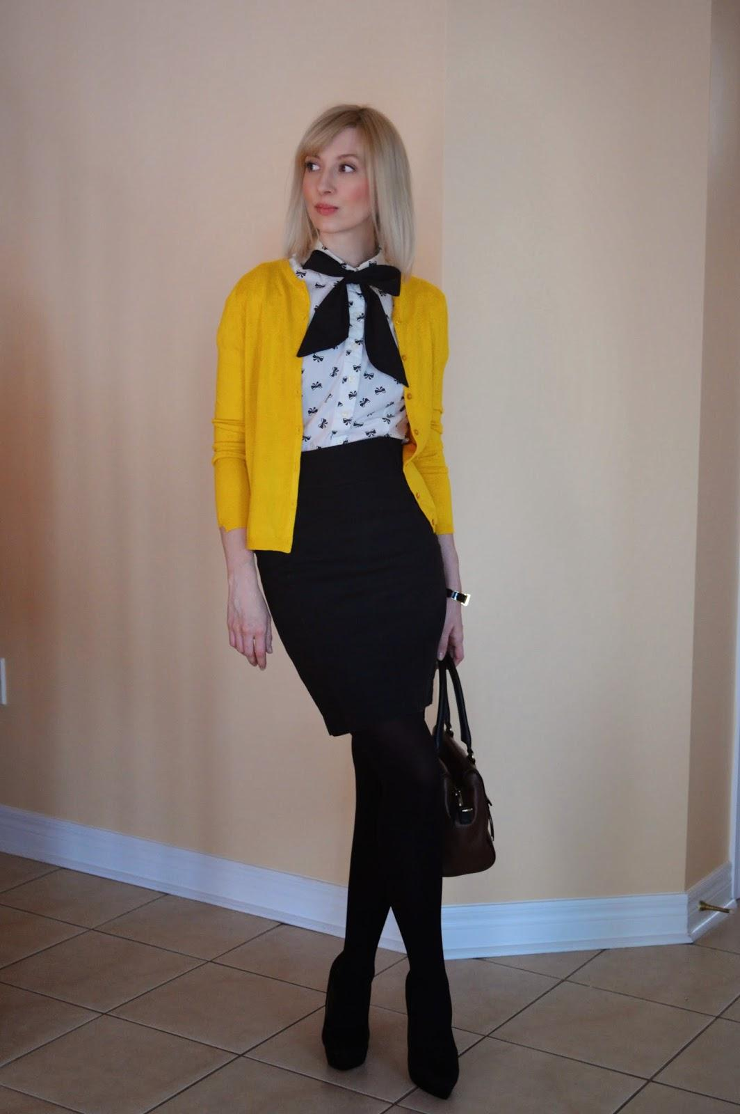 Put a Bow on It: with mustard cardigan. - Stripes and Vibes