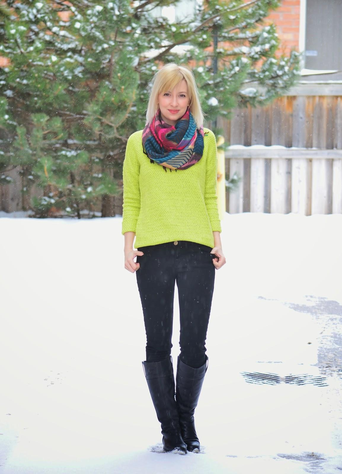 Style, OOTD, neon, sweater, sweater weather, Forever21, Zara, ecco, neon sweater style, neon color style,