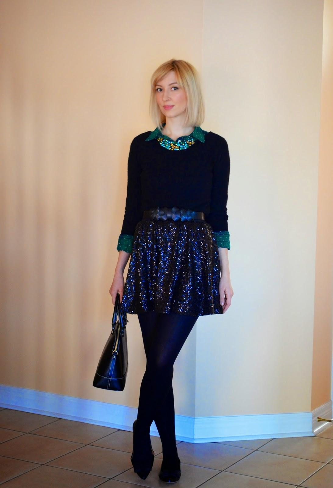 Style, OOTD, skirt style, sequin, smart casual, Target, Asos, J. Crew factory, J. Crew style, Kate Spade, green and black, preppy, preppy style,