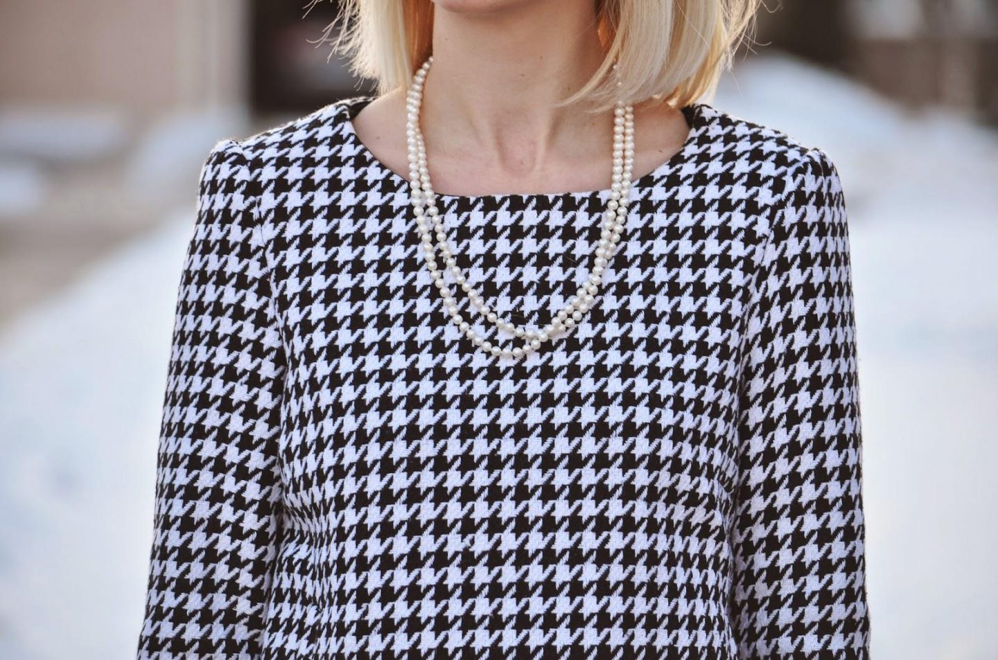 Style, OOTD, Houndstooth, pearl necklace, girls love pearls, black and white, forever21, Chicwish, Asos, houndstooth style, classy style