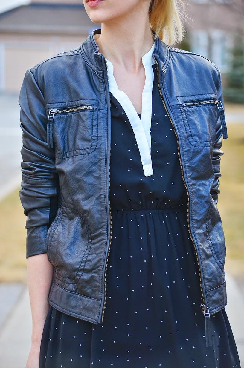 Style, ootd, skater dress, flowy dress, dress style, leather jacket, spring style, Aldo, Kate Spade, Forever21, mango, leather jacket style, dress and jacket