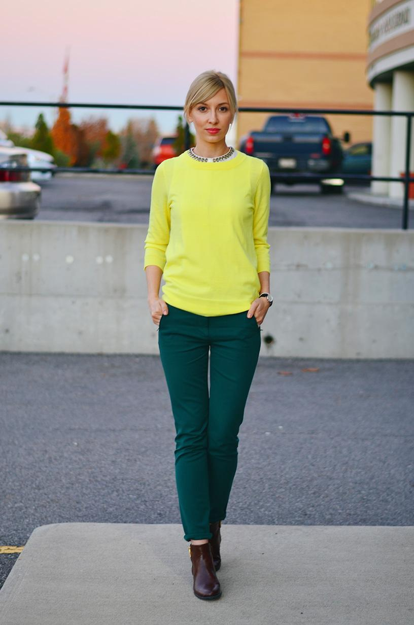 Green Pants & Yellow Pullover | Mixing Bright Colors