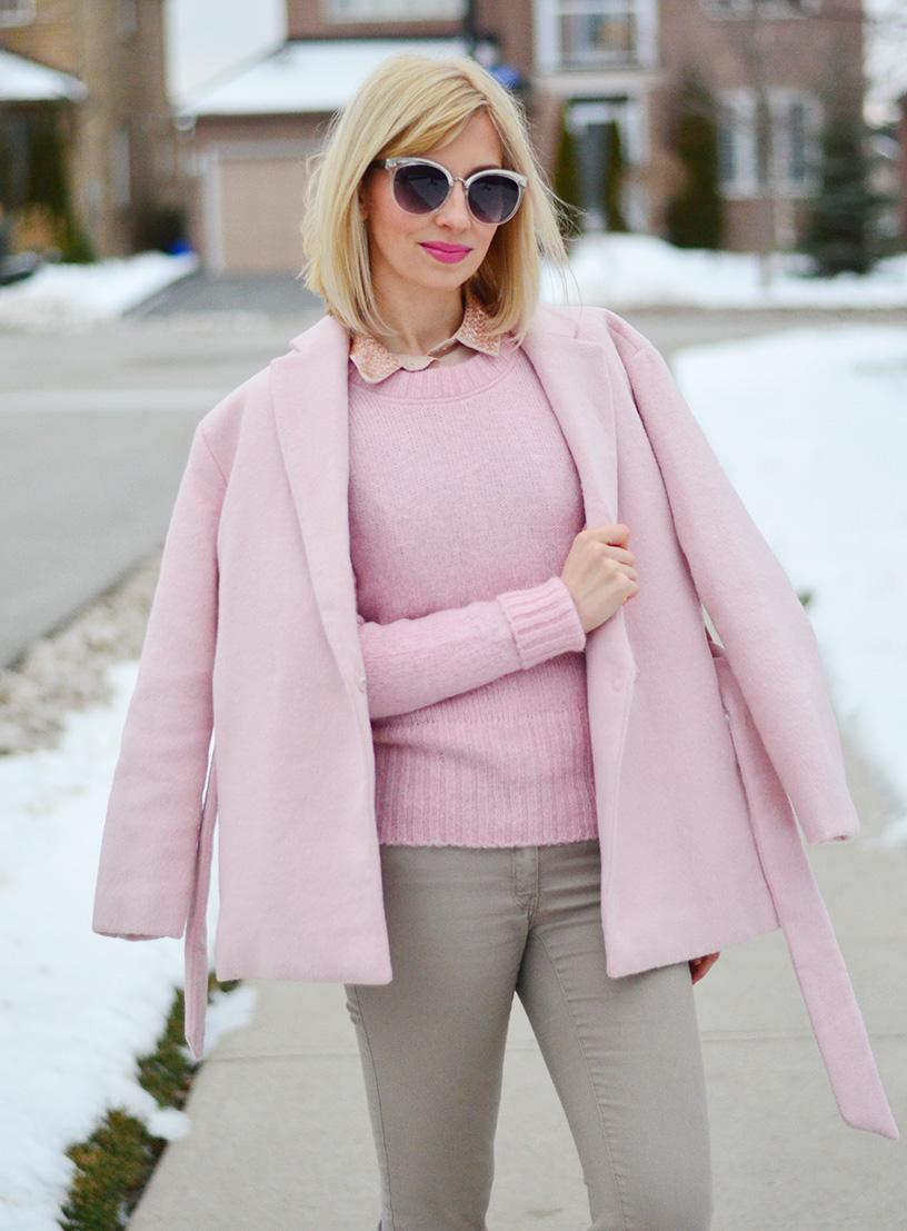 Light & Soft in Wool Wrap Dusty Pink Coat. - Stripes and Vibes