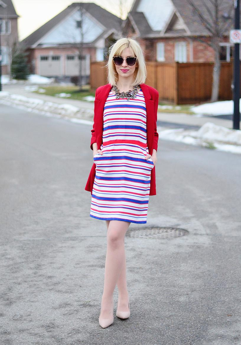 red and blue stripe dress
