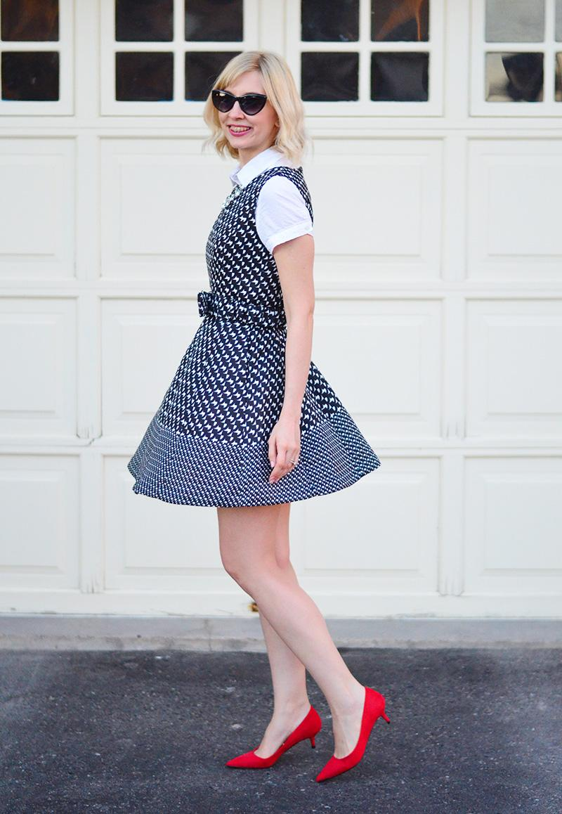 chickwish houndstooth dress how to wear red shoes