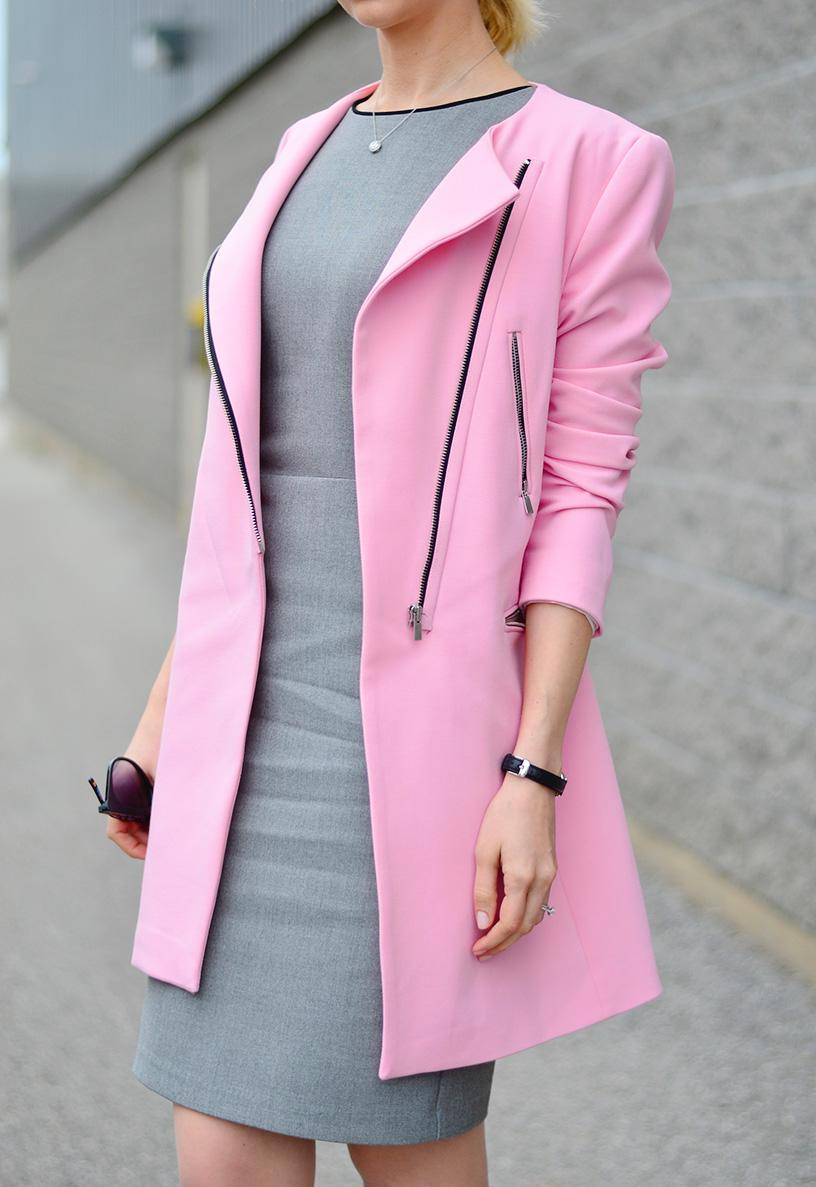 Pink Coat & Grey Pencil Dress. - Stripes and Vibes