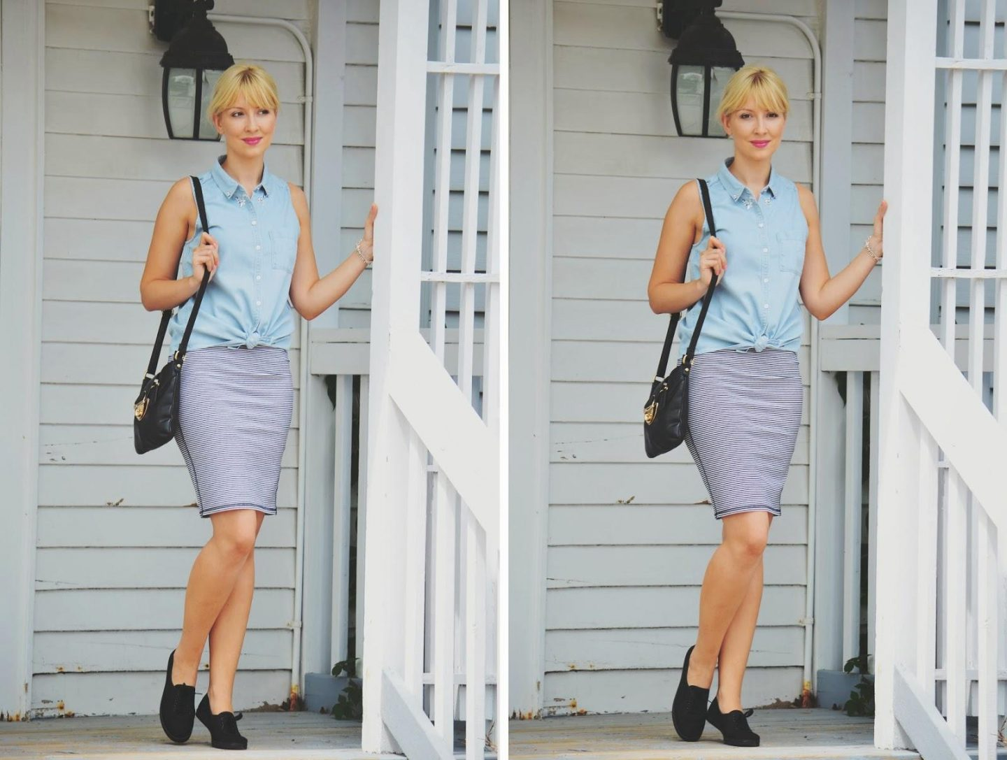 denim top, denim hollister top, hollister top, striped skirt, oldnavy skirt