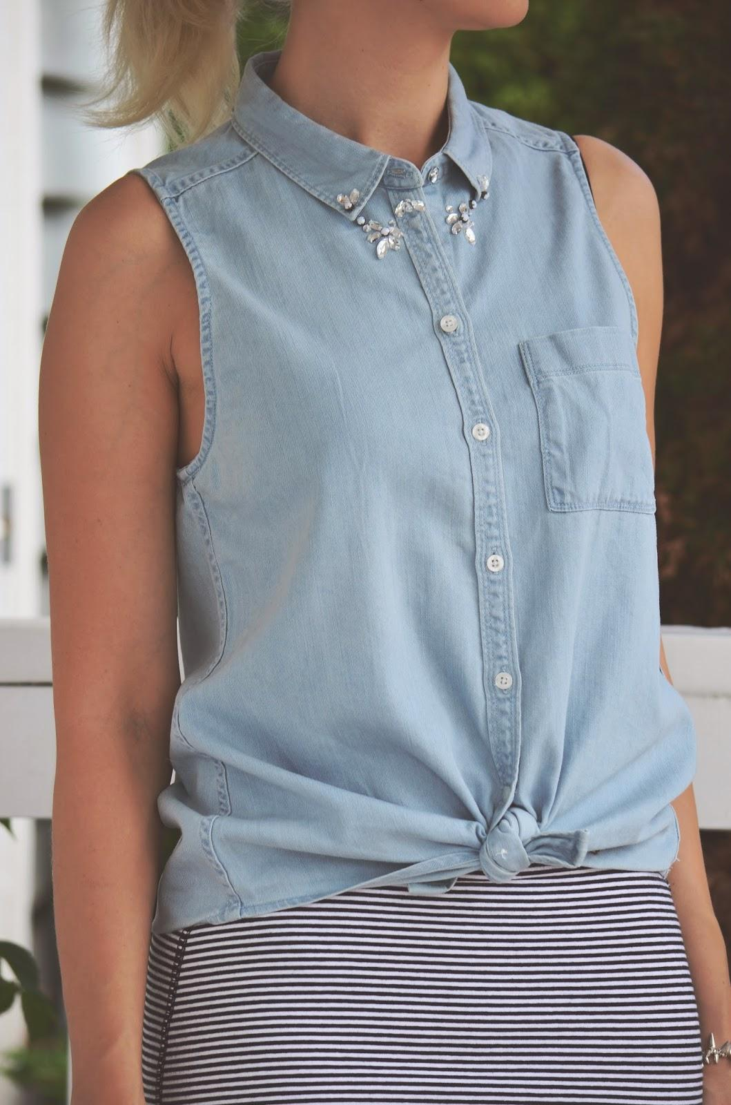 embellished top, collared top,
