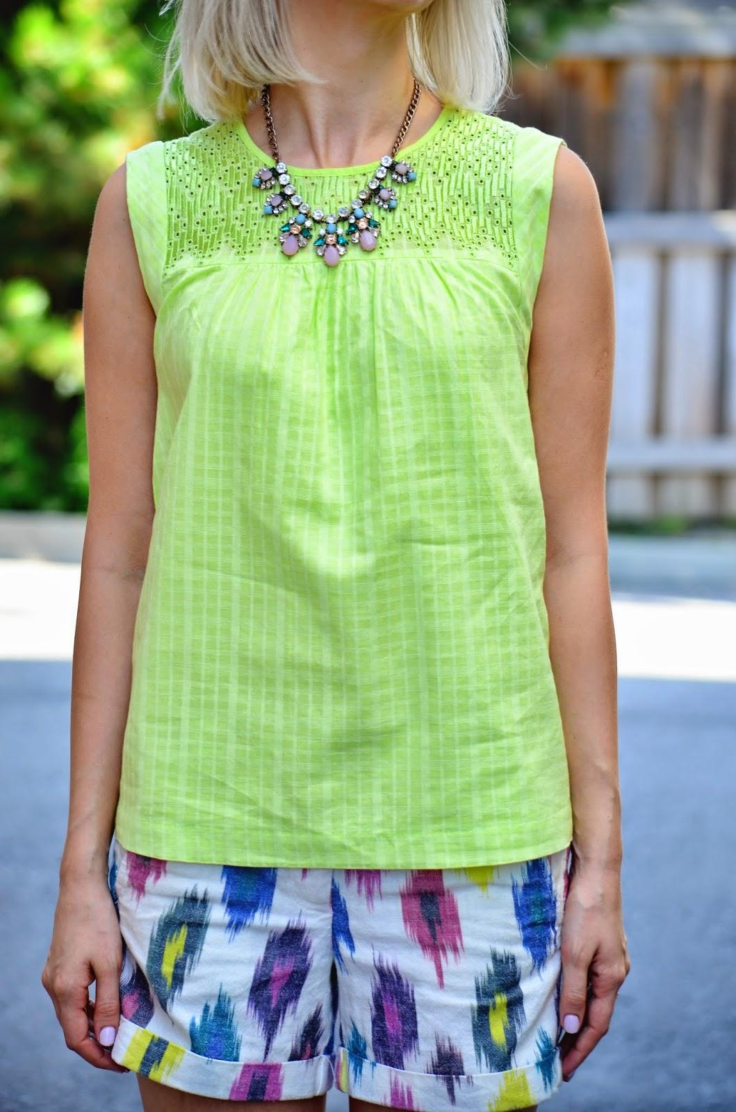 neon top, jcrew top, jcrew shorts, pastel necklace, crystal necklace, neon color, neon style