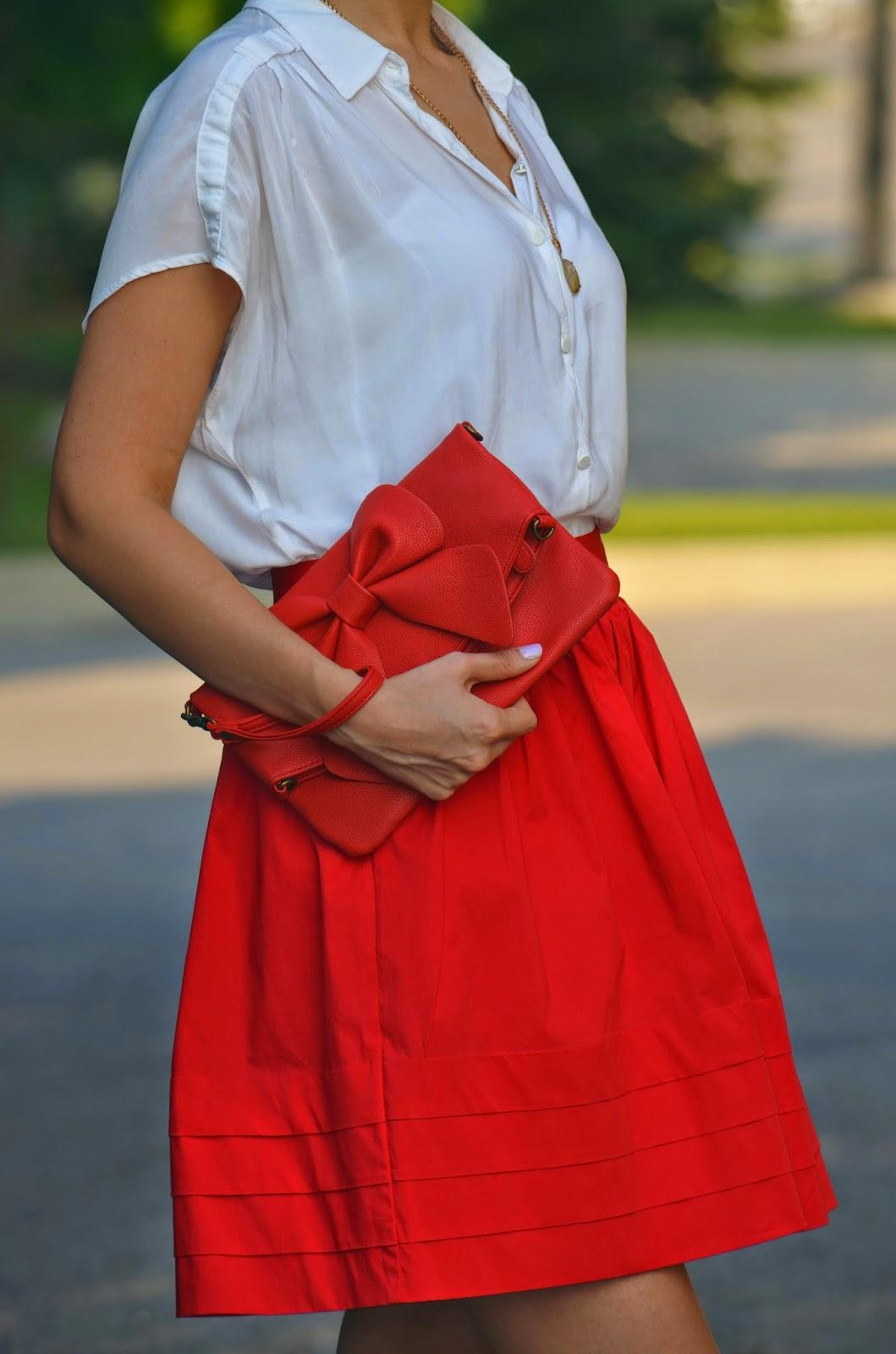 red skirt, banana republic skirt, office casual, red bow clutch, red bow bag