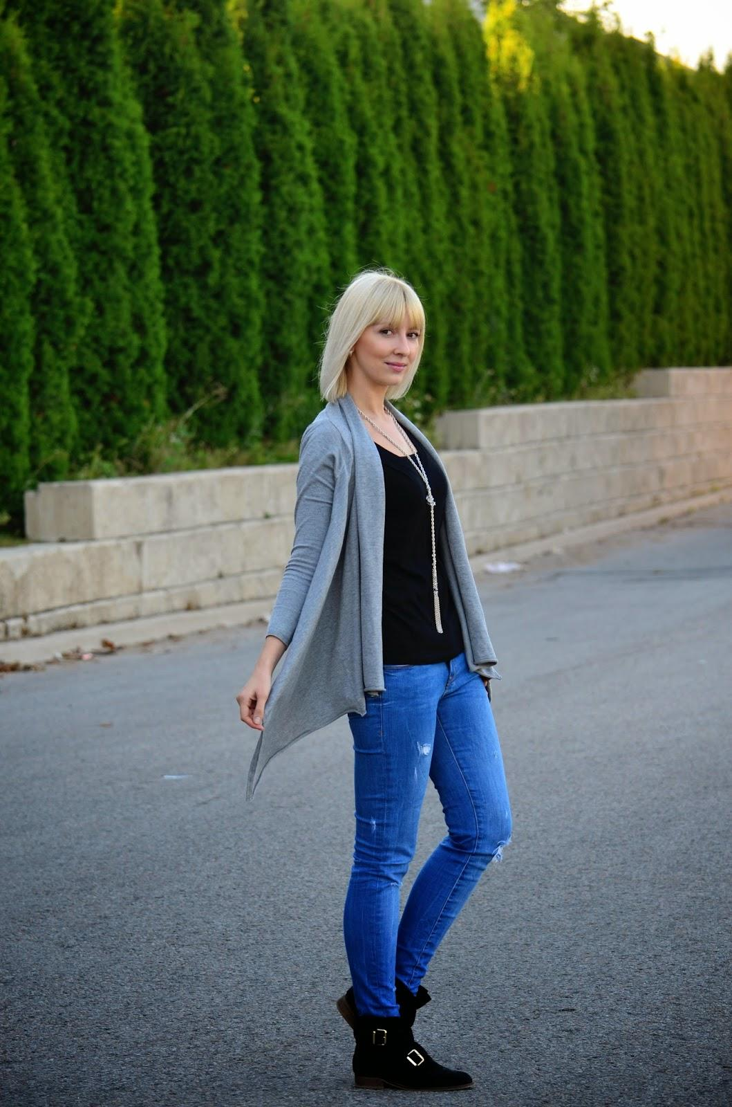 waterfall cardigan, fall style, how to wear cardigan, distressed jeans, zara jeans, zara cardigan