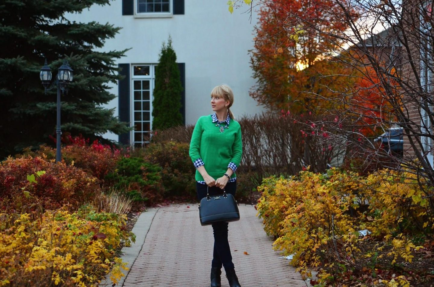 j. Crew, J. Crew factory, Preppy, preppy style, Kate Spade, Kate Spade bag, asos boots, asos, green sweater, wool sweater,