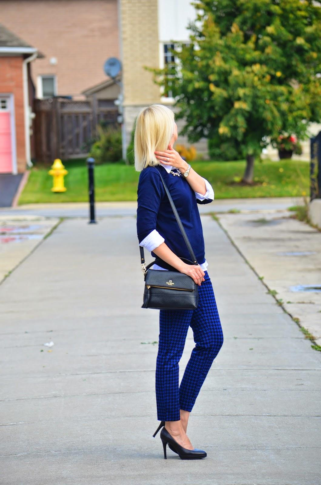 Style, OOTD, Tommy Hilfiger, Old Navy, J. Crew factory, J. Crew style, j. Crew, Kate Spade, Kate Spade bag, Houndstooth pants, Houndstooth, blue outfit,