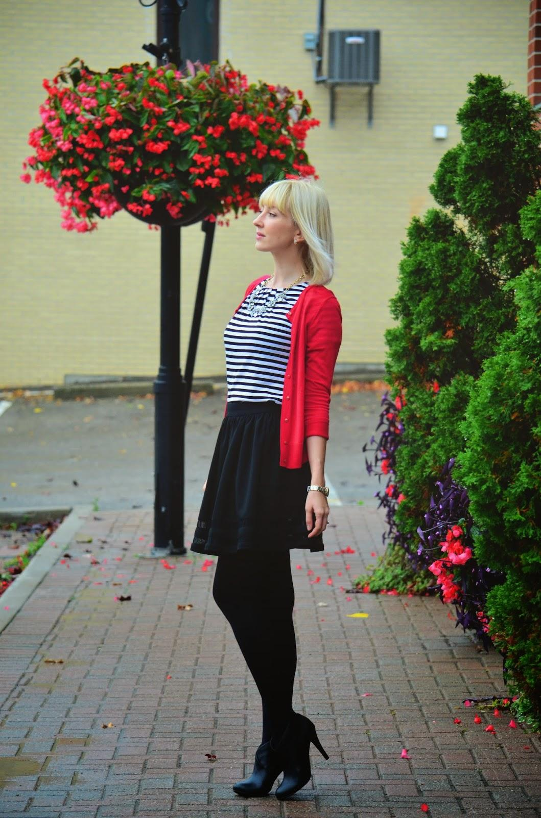 Style, OOTD, stripes, StripesnVibes, opaque tights, tights, skirt style, Asos, J. Crew style, J. Crew, Jacob, Loft,