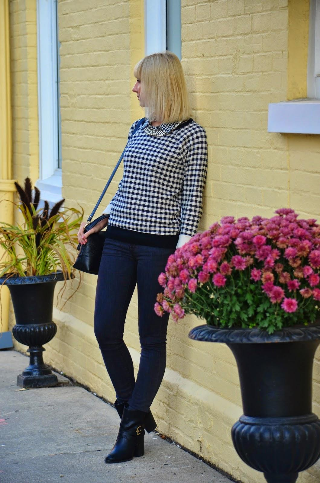 Style, OOTD, casual, business casual, smart casual, J. Crew, J. Crew factory, Zara, Kate Spade, zara jeans, Kate Spade bag, black and white, black and grey, grey, houndstooth