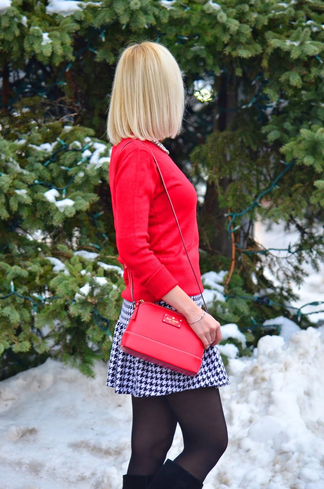 Style, OOTD, J. Crew style, Chicwish, Houndstooth, red and white, Christmas, christmas style, christmas ootd,