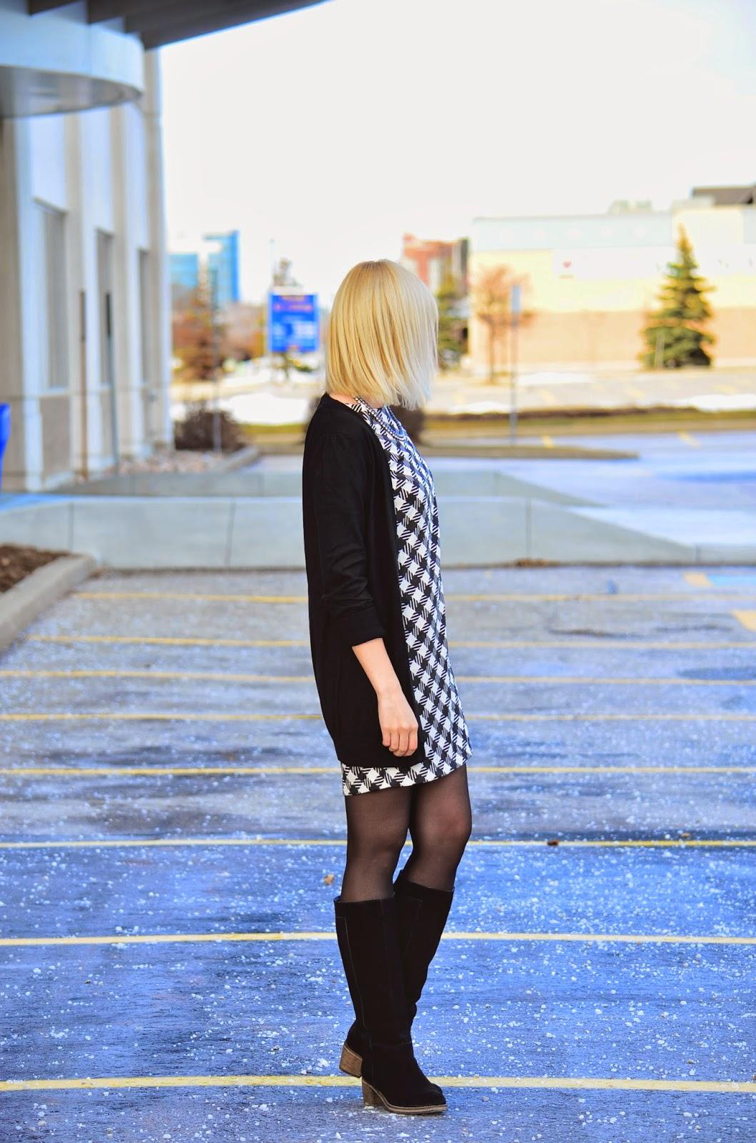 Style, OOTD, shift dress, black and white, casual, Asos, forever21, oversized cardigan, shift dress style