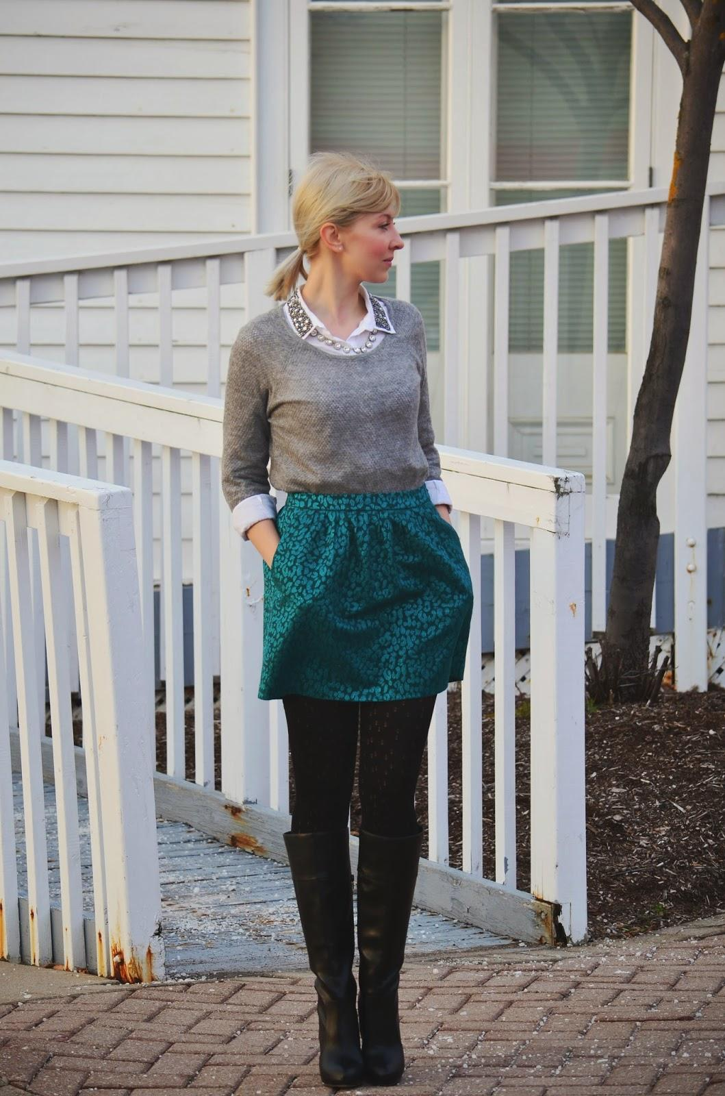 Style, casual Friday, preppy style, preppy, H&M, Banana Republic, Aldo, Old Navy, grey and green, green skirt style, grey sweater style, wool sweater, embroidered collar,