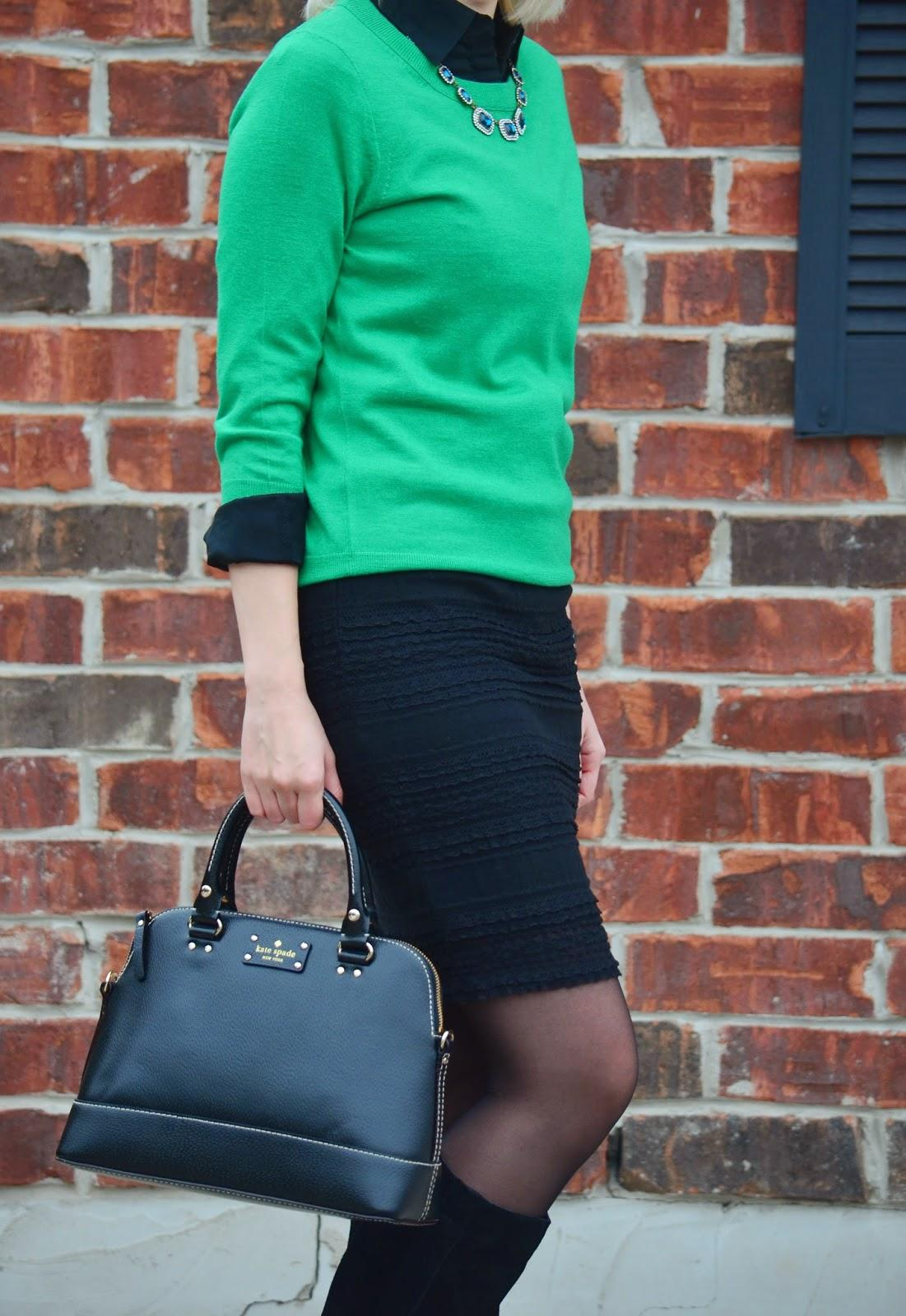 Style, office style, office wear, forever21, Forever21 necklace, Esprit, lace skirt, Asos, Kate Spade, lace midi skirt, green top, office wear, green and black, green black, green top style, midi skirt for work