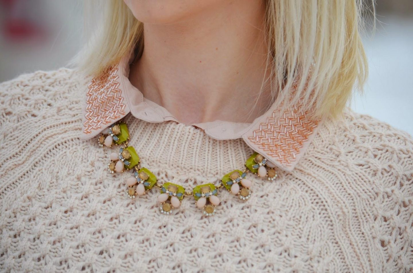 Style, OOTD, Pastel, winter style, J. Crew, J. Crew factory, H&M, Vince Camuto, pastel style, casual style, oversized sweater, oversized sweater style, beaded shirt, beaded collar shirt, embellished collar,