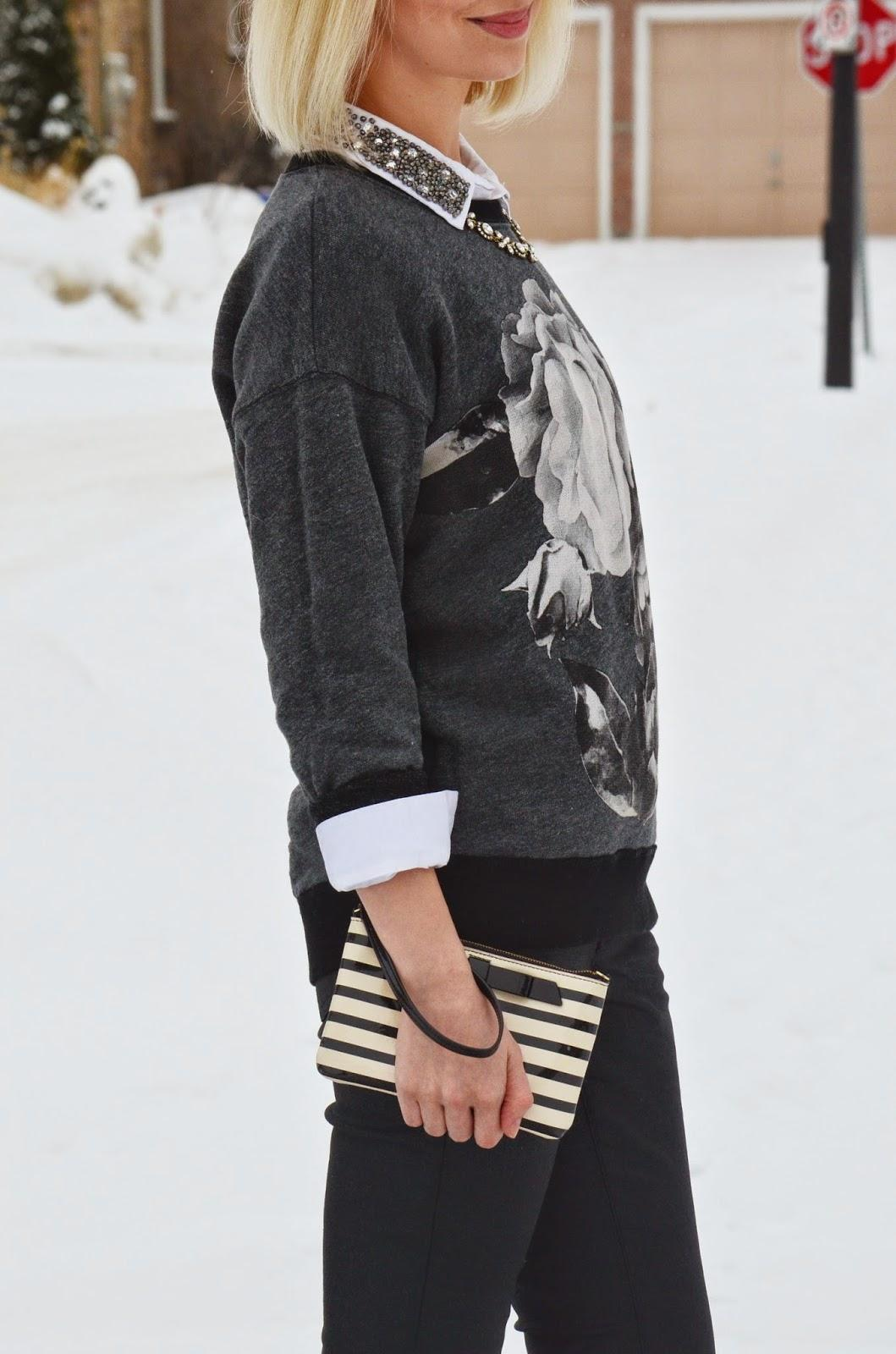 Style, OOTD, J. Crew style, j. Crew, black and grey, Floral sweatshirt, business casual, preppy style, preppy, Old Navy, Asos, Kate Spade, Benevolent Jewels, sweatshirt style