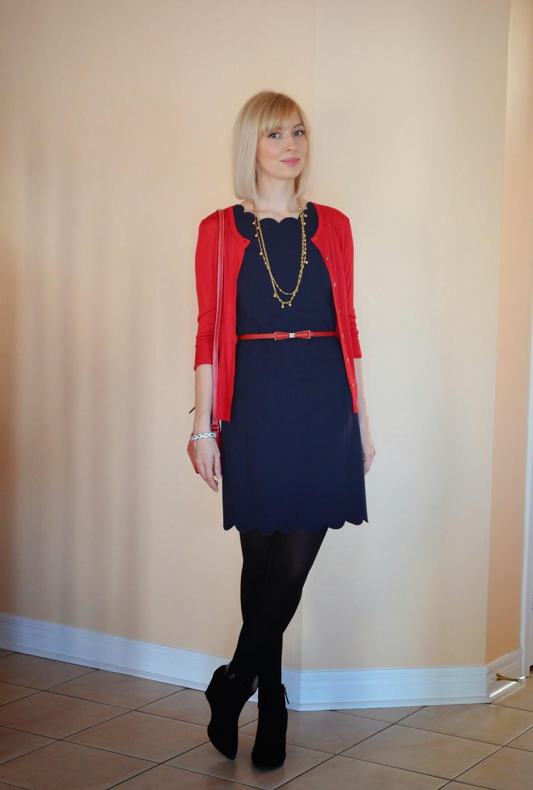 Style, OOTD, j. Crew, J. Crew style, J. Crew factory, scalloped dress, red and navy, preppy style, office dress, shift dress