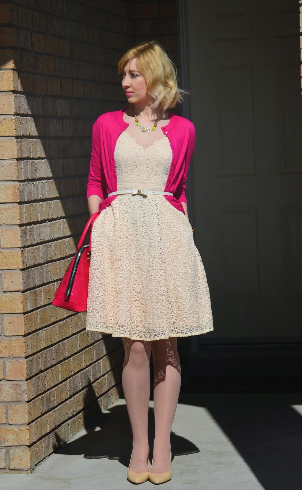 Style, OOTD, eShakti, lace dress, aline dress, spring style, J. Crew, Kate Spade, Forever21, Zara, lace dress style, bright cardigan style, bow style, bow belt, bow earrings, eshakti dress,