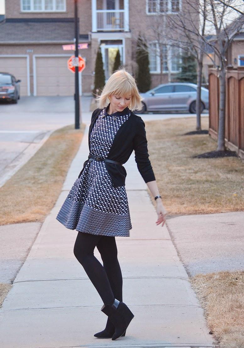 Style, OOTD, Fit & Flare, flare dress, dress style, Houndstooth, preppy, preppy style, black and white, Loft, Kate Spade, Kate Spade NY, Chicwish, Jacob, Zara, houdstooth dress style, houndstooth print