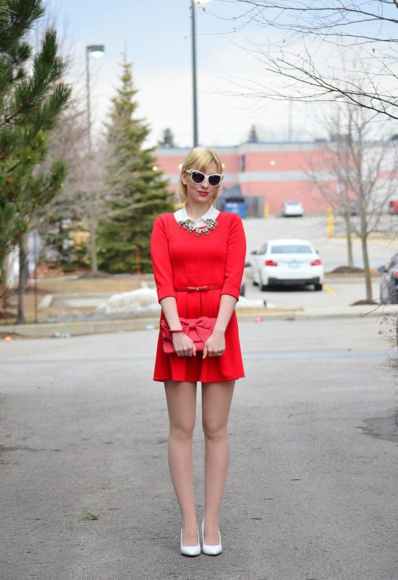 Style, OOTD, red, Red Dress, Choies, Loft, Asos, Benevolent Jewels, preppy, preppy style, red dress style, choies dress, red skater dress, skater dress