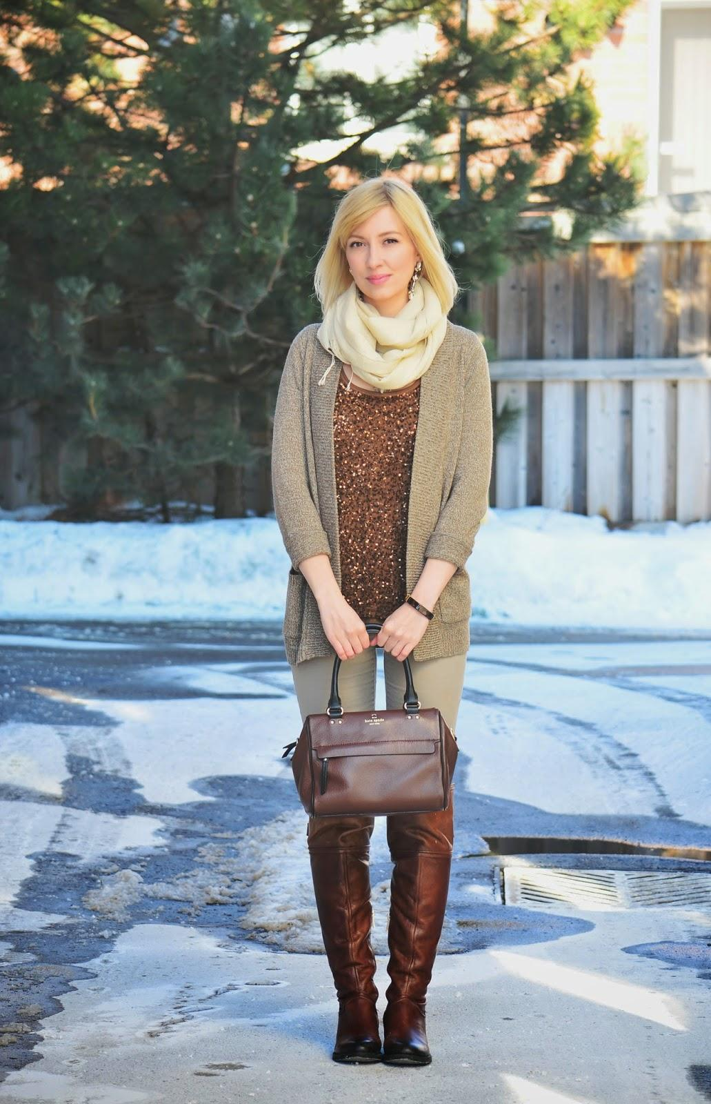 Style, OOTD, sequins, H&M, j. Crew, J. Crew style, preppy, Vince Camuto, Kate Spade, Benevolent Jewels, sequin top outfit, sequin top style, preppy style, brown outfit, beige outfit