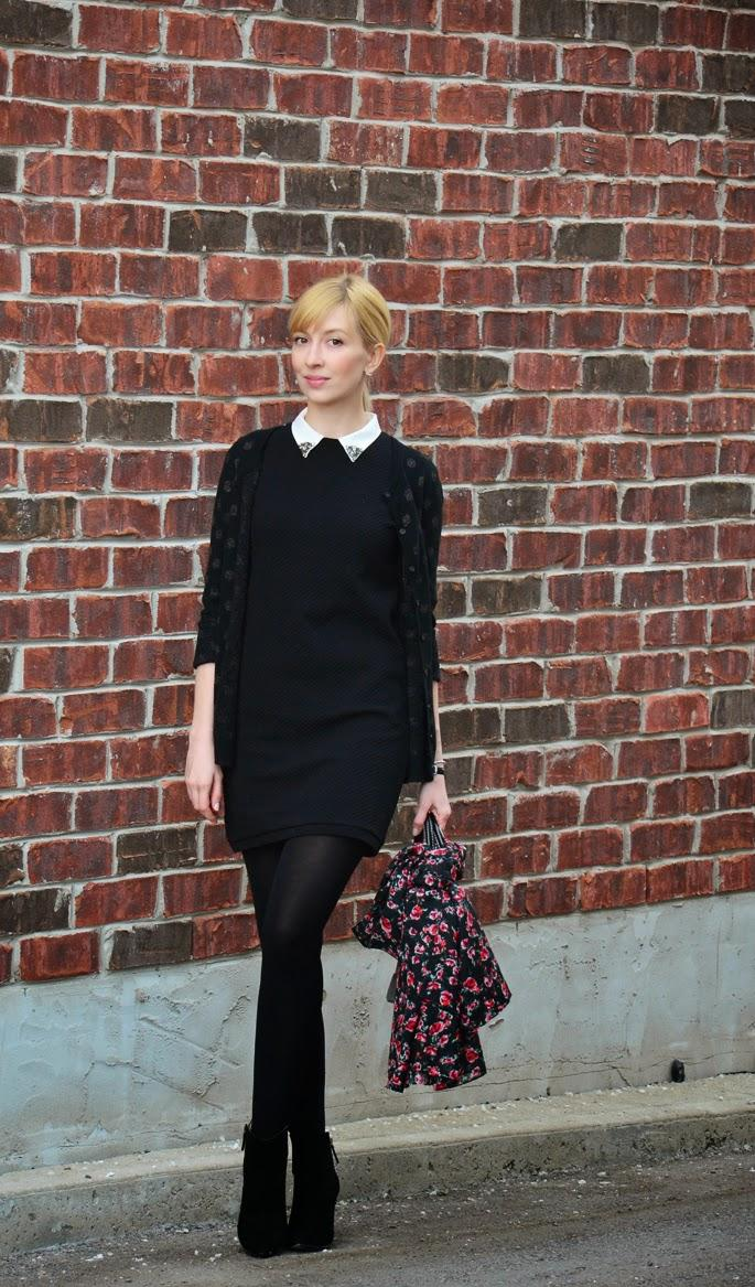 Style, OOTD, shift dress, Zara, Kate Spade, Kate Spade bag, Loft, H&M, Old Navy, preppy, preppy style, total black, spring style,
