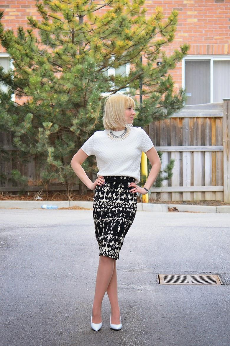 Style, OOTD, midi skirt, spring style, skirt style, forever21, Kate Spade, Dynamiteclothing, H&M, asos, quilted top, crop top style, high waist skirt style