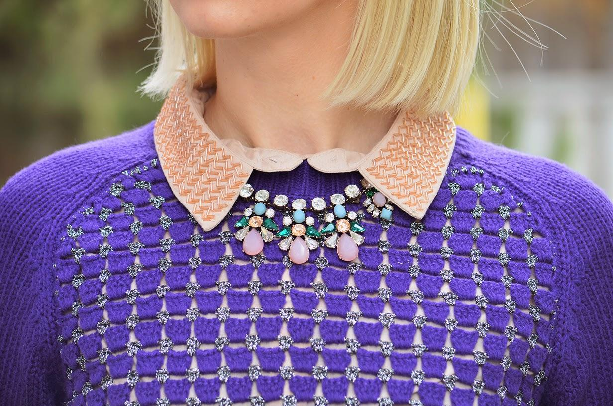 Style, OOTD, sweater, sweater weather, Asos, Zara, Old Navy, H&M, Benevolent Jewels, violet, preppy style, office style,