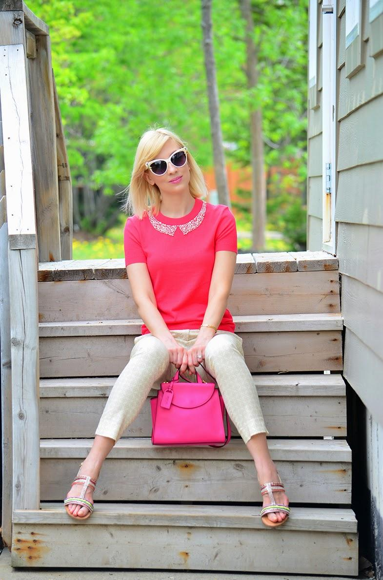 Style, ootd, Kate Spade, H&M, Asos, Kate Spade bag, embellished top, pretty in pink, preppy style, preppy, pink bag, pink top, pink style, pink outfit