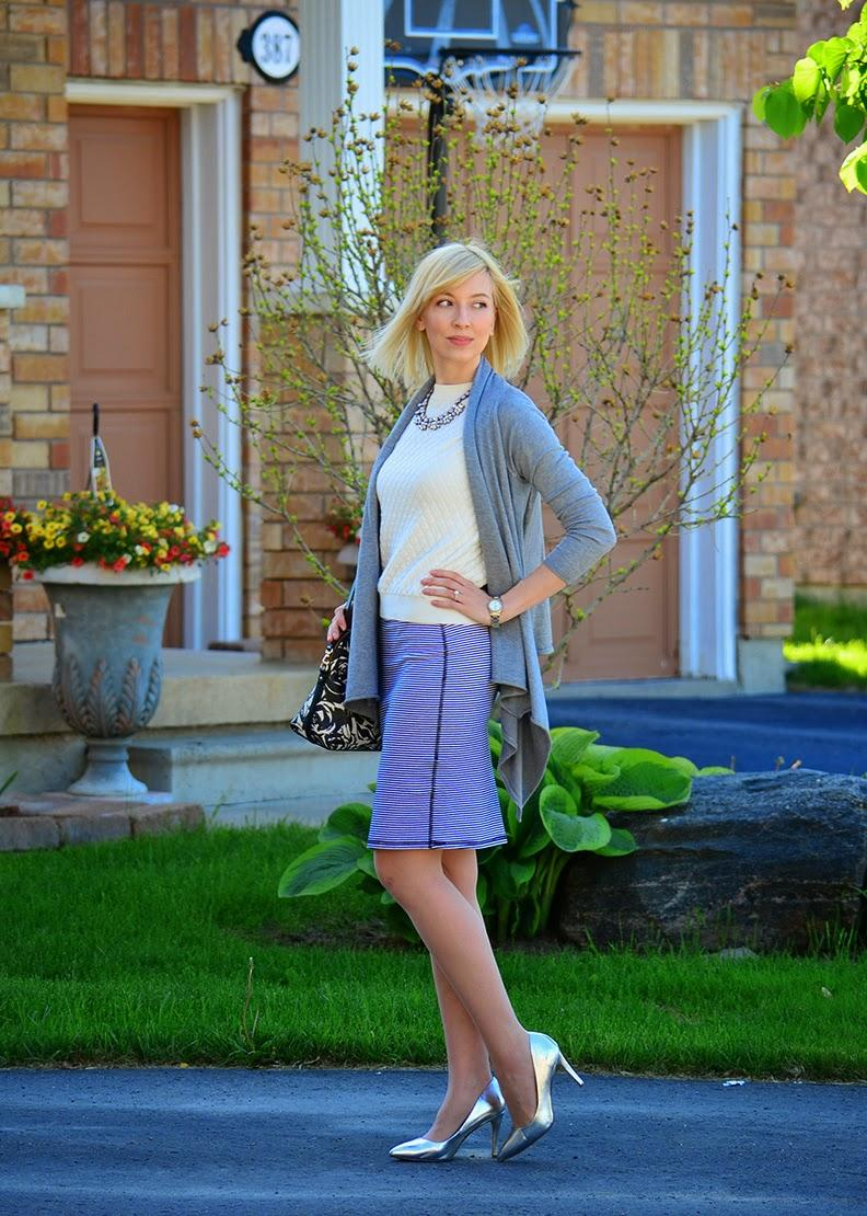 Style, ootd, striped skirt, waterfall cardigan, Zara, Old Navy, forever21, Asos, Kate Spade, business casual, smart casual, stripes skirt style, oldnavy style, cardigan style
