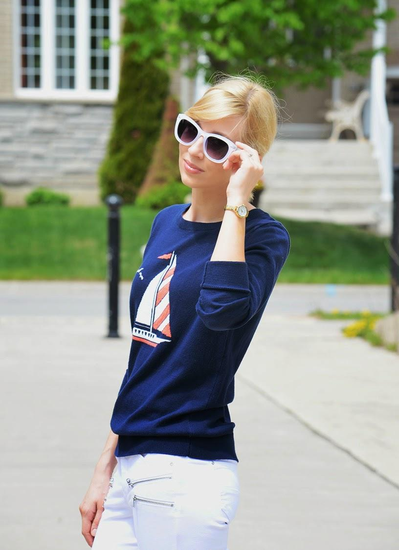 Style, OOTD, Nautical Style, nautical, Zara, Asos, Old Navy, La Mer Collections, Adidas, navy pullover style, navy style