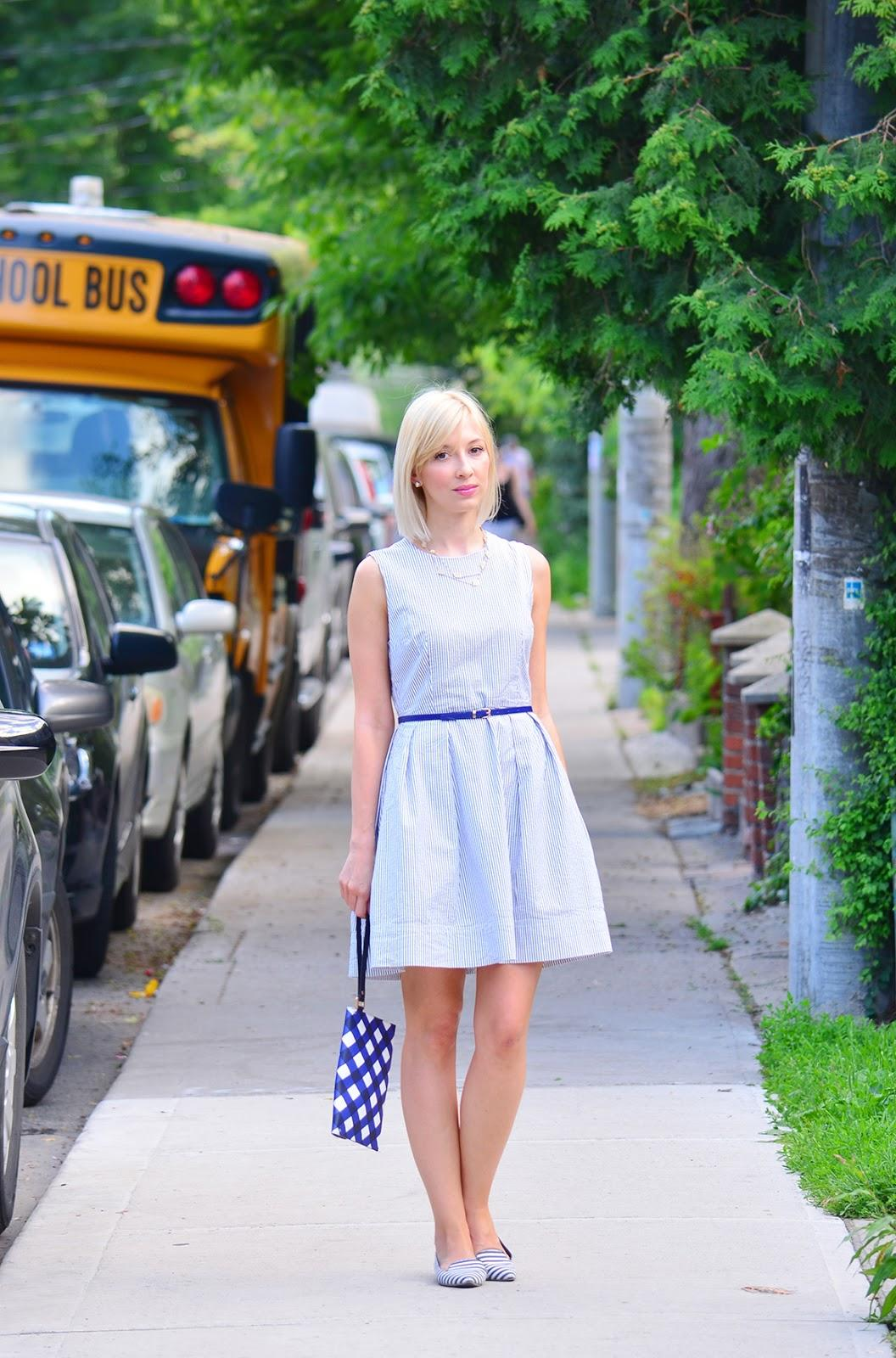 Style, ootd, Gap, Kate Spade, Banana Republic, seersucker dress, flare dress, dress style, seersucker, fit & flare dress, gap dress, aline dress