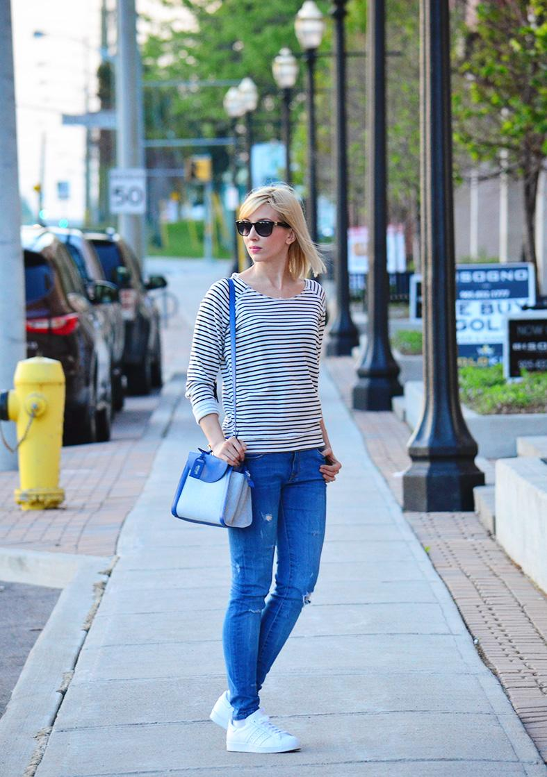 Style, OOTD, stripes, sport style, Asos, Adidas, Zara, nautical, jeans, striped top style, striped sweatshirt