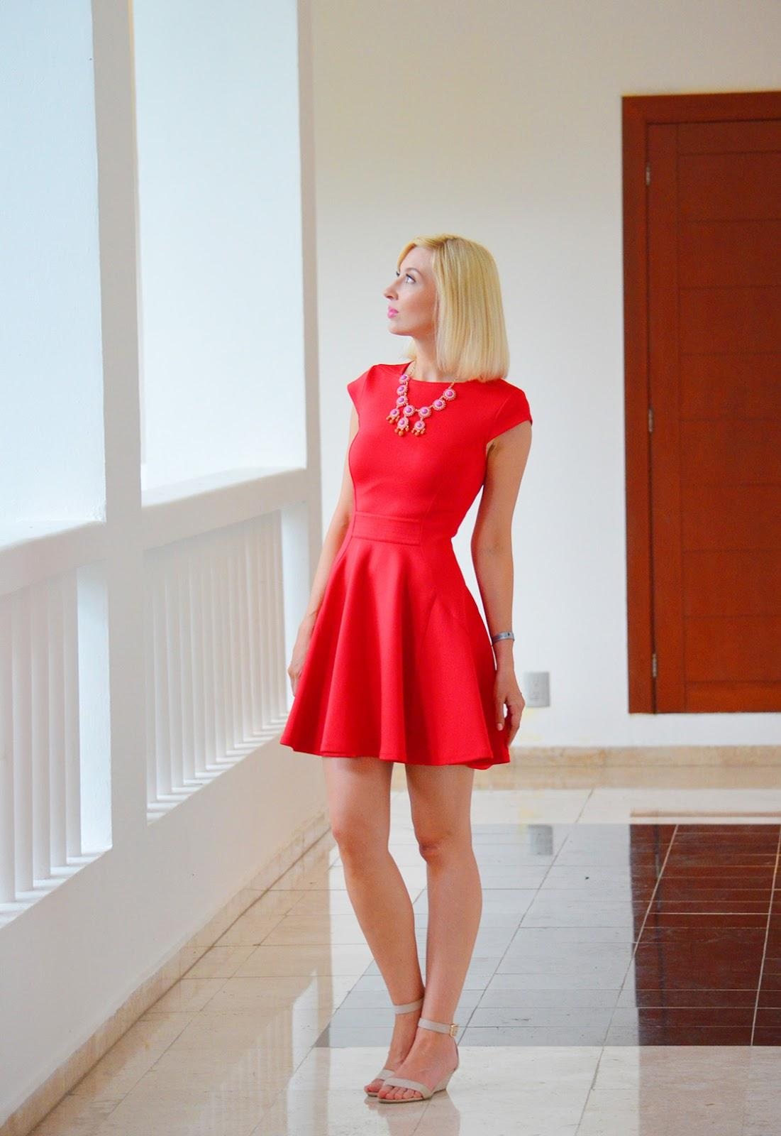 Style, OOTD, Red Dress, dress, dress style, summer dress, summer style, Ted Baker, Old Navy, forever21, statement necklace, red dress style,