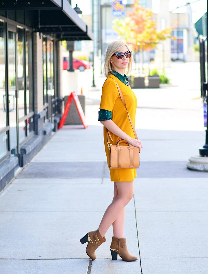 style, fashion, ootd, shift dress, preppy, preppy style, style blogger, fashion blogger, fashionista, personal style, mustard dress,