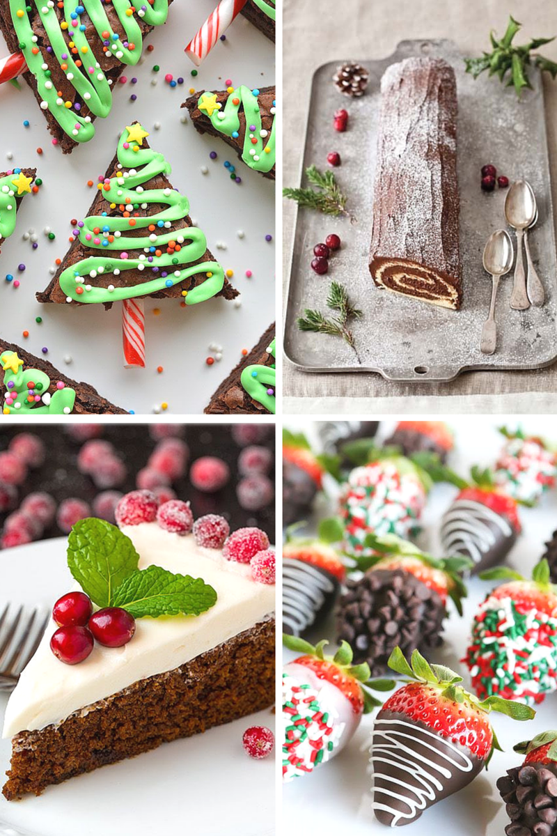 brownies, log cake, gingerbread, strawberries, food, baking, christmas, christmar cake