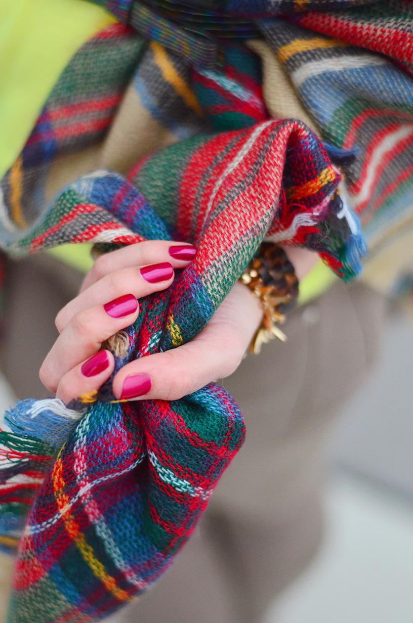 style, fashion, ootd, Plaid Scarf, beige style, style blogger, fashion blogger, red nails,