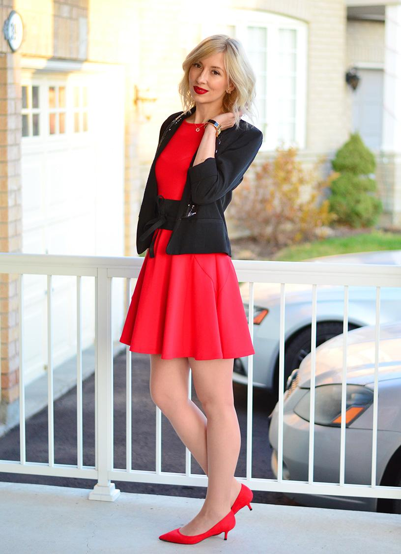 celebration in red party outfit idea - Red Dress For Christmas Party