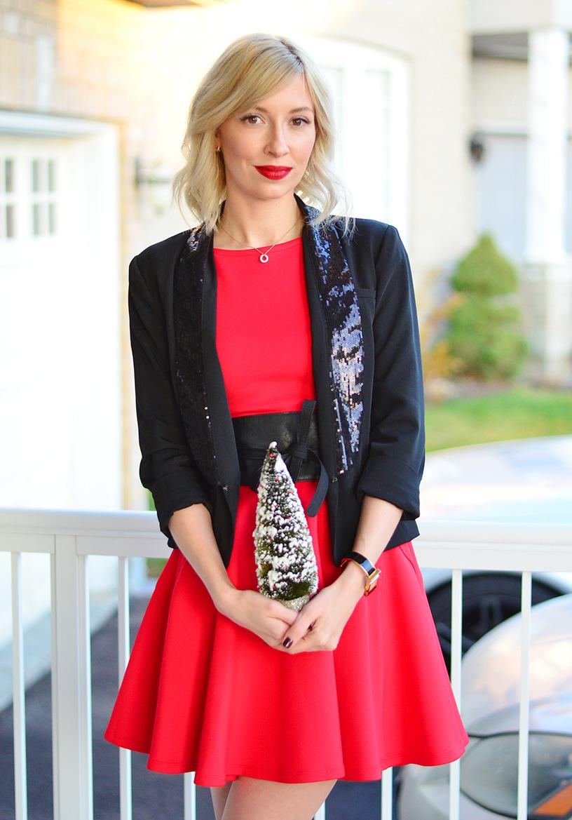 Sequin Blazer u0026 Red Dress | Christmas Party Outfit Ideas