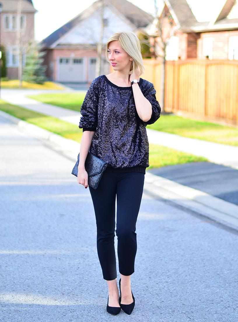 style, ootd, fashion, New Year style, party outfit, sequin outfits, sequin style, sequin sweatshirt, canadian blogger, toronto blogger,