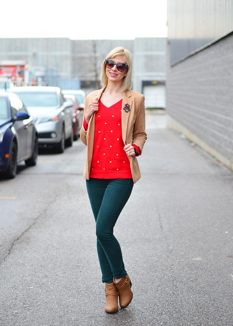 red sweater and green pants style