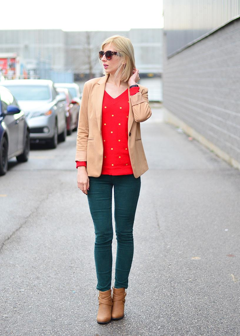 3dc694ce9c9 Styling Up an Office Wear with Beige Jacket   Dot Tunic Sweater. beige  jacket   green pants office style ...
