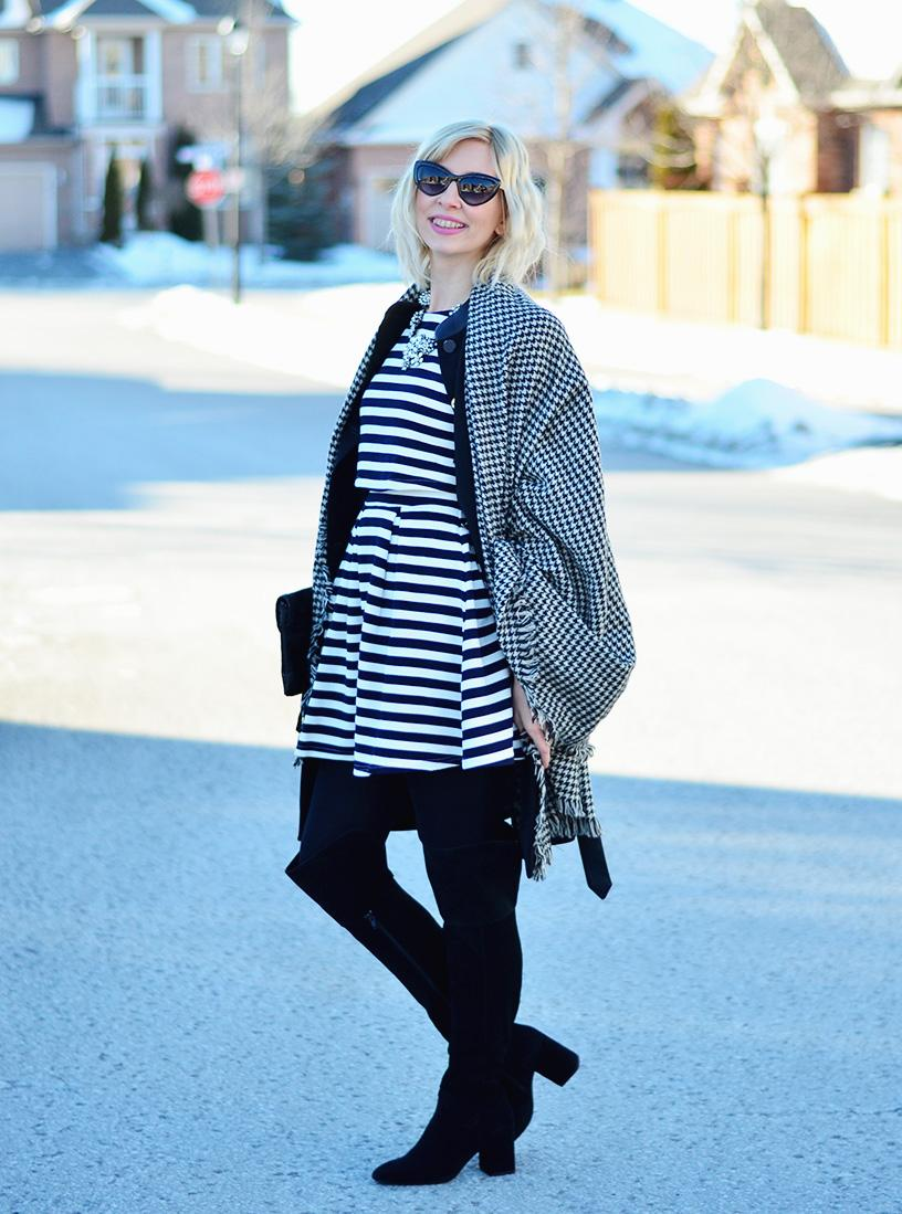 Stripe Dress & plaid Scarf