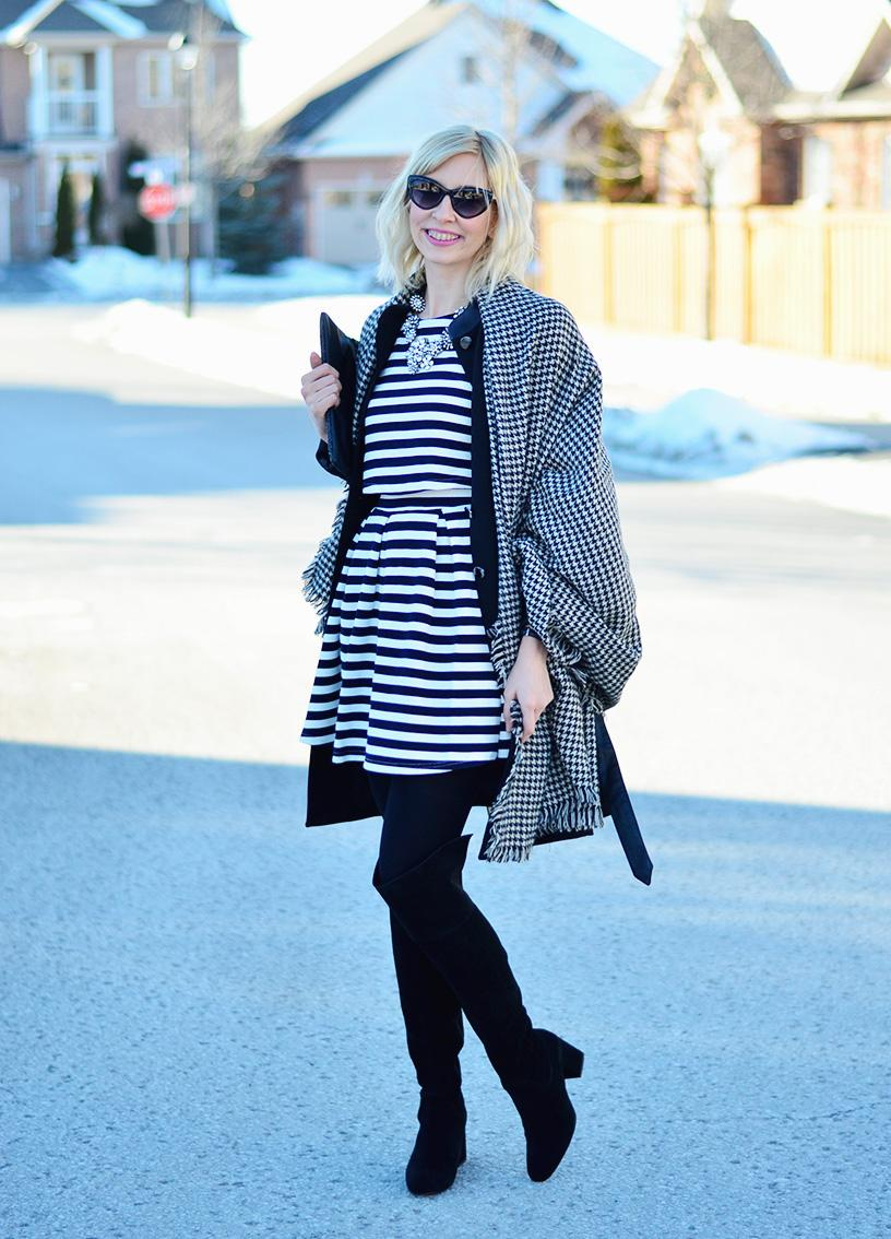 stripe dress & check scarf