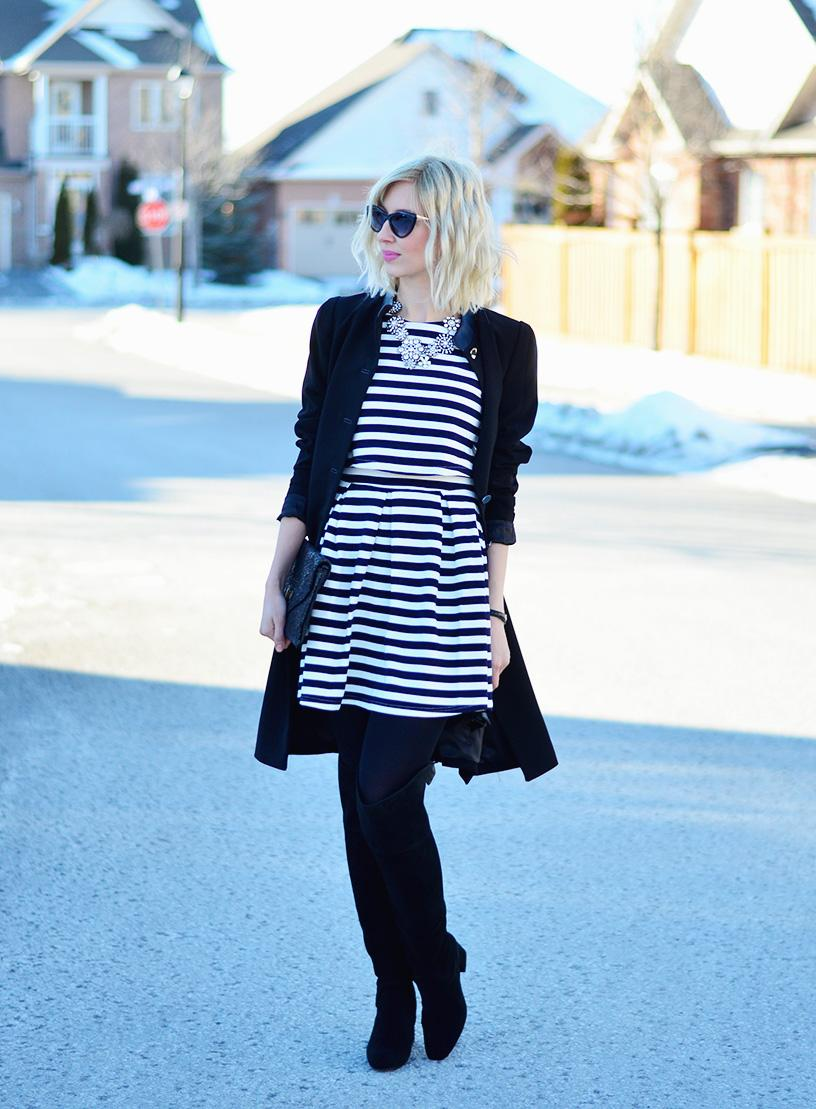 stripe dress & black coat